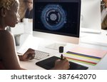 technology hud global web media ... | Shutterstock . vector #387642070