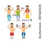 bodybuilder fitness model... | Shutterstock .eps vector #387660130