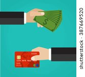 hand with credit card and hand... | Shutterstock . vector #387669520
