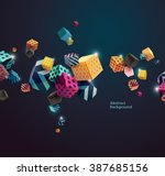 multicolored decorative cubes.... | Shutterstock .eps vector #387685156
