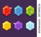 set of bright cartoon gem icons....   Shutterstock .eps vector #387688216