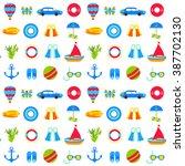 summer marine seamless pattern... | Shutterstock .eps vector #387702130