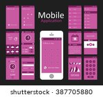 pink background mobile app flat ...