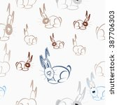 seamless background with hares | Shutterstock .eps vector #387706303