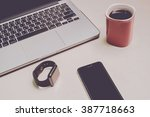 smartphone with smartwatch and... | Shutterstock . vector #387718663