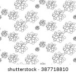 seamless hand drawn flower... | Shutterstock .eps vector #387718810