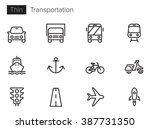 transport vector icons set thin ...