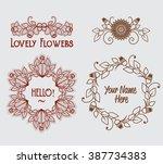 vintage logo template floral... | Shutterstock .eps vector #387734383