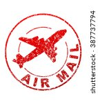 air mail grunge style vector... | Shutterstock .eps vector #387737794