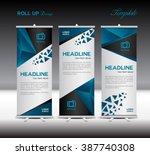 blue roll up banner template... | Shutterstock .eps vector #387740308