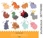 set of cute cartoon farm animal ... | Shutterstock .eps vector #387748480