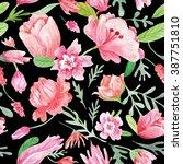 romantic watercolor pattern  ...   Shutterstock . vector #387751810