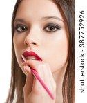 makeup artist creating... | Shutterstock . vector #387752926
