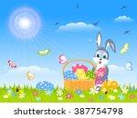 easter childish card   joy... | Shutterstock .eps vector #387754798