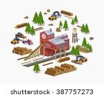 lumber mill. sawmill building.... | Shutterstock .eps vector #387757273