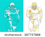 american football player labels ... | Shutterstock .eps vector #387757888
