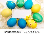 easter greetings   easter eggs | Shutterstock . vector #387765478