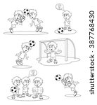 set cartoon soccer players.... | Shutterstock .eps vector #387768430