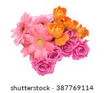 bouquet of roses and transvaal... | Shutterstock . vector #387769114