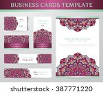 business cards with mandala.... | Shutterstock .eps vector #387771220