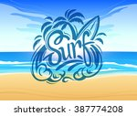 surf labels on nature vector... | Shutterstock .eps vector #387774208