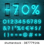 vector neon glowing alphabet... | Shutterstock .eps vector #387779146