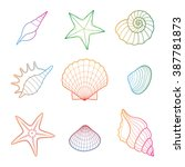sea shell  seashell  starfish.... | Shutterstock .eps vector #387781873