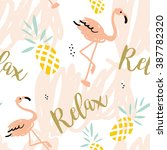 blush pink flamingo  pineapples ... | Shutterstock .eps vector #387782320