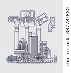cool flat line vector... | Shutterstock .eps vector #387782830