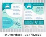 printer icon on vector brochure.... | Shutterstock .eps vector #387782893