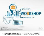 workshop and marketing concept. ... | Shutterstock .eps vector #387782998