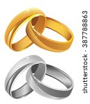 gold   silver wedding rings... | Shutterstock .eps vector #387788863