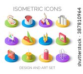 set of bright isometric icons....
