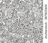cartoon hand drawn doodles on... | Shutterstock .eps vector #387825604
