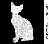 cat   devon rex   cat without... | Shutterstock .eps vector #387827680