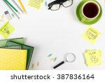 office table desk with set of... | Shutterstock . vector #387836164