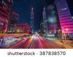 Taipei Cityscape At Twilight In ...