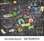 summer season doodles elements. ... | Shutterstock .eps vector #387838954