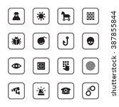 black flat security icon set...