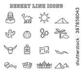 desert line icons  mono vector...   Shutterstock .eps vector #387858043