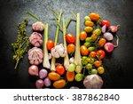 organic thai herbs on black...   Shutterstock . vector #387862840