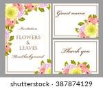 invitation with floral... | Shutterstock . vector #387874129