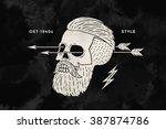 poster of vintage skull hipster ... | Shutterstock .eps vector #387874786