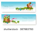 two happy easter banners with... | Shutterstock .eps vector #387883783