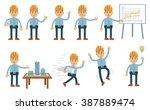 set of construction worker... | Shutterstock .eps vector #387889474