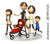 family walking with baby buggy | Shutterstock . vector #387891520