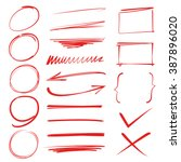 red marker elements ... | Shutterstock .eps vector #387896020