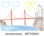 Child Drawing Of Golden Gate...