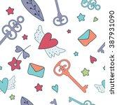 seamless vector floral pattern...   Shutterstock .eps vector #387931090