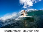 surfer with long white hair... | Shutterstock . vector #387934420